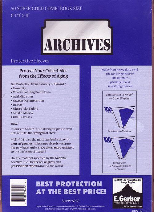 Mylar Archives 825R (Super Golden Age)